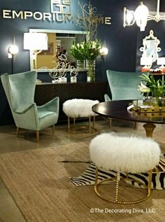 Living/Dining Room: Emporium Home captures the essence of pure feminine glamour. #HPMKT Hugh Point Market fall 2013.