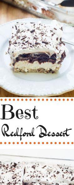 Next Best Thing to Robert Redford Dessert - Natasha Kitchen Layered Desserts, Köstliche Desserts, Delicious Desserts, Cupcakes, Cupcake Cakes, Baking Recipes, Cake Recipes, Cheesecake, Cookies Et Biscuits