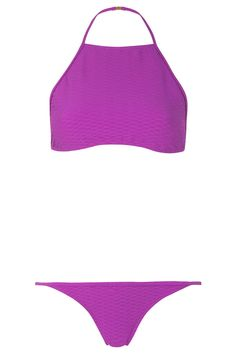 Textured High Neck Bikini Set - Topshop