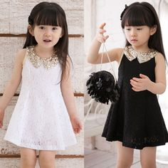 Dress Girl Princess 2016 Summer New Fashion Lace Sleeveless Girls Party  Dress Sequin Collar Beautiful Kids Clothes Girls Price  USD b1042d83c4a6