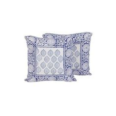 NOVICA India Blue on White Block Print Cushion Covers (Pair) ($18) ❤ liked on Polyvore featuring home, home decor, throw pillows, cushion covers, pillows & throws, white, white home accessories, blue toss pillows, blue throw pillows and blue accent pillows