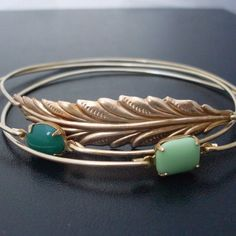 Woodland Gold Stacking Bangle Bracelet Set Forest door FrostedWillow, $39.00