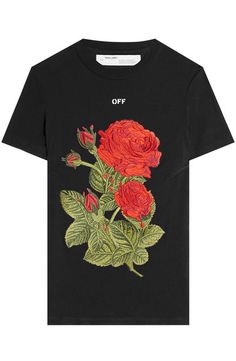 adedce38 Embroidered T-Shirt with Cotton | Off White Rose T Shirt, Spring T Shirts
