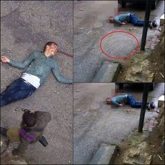 """""""Earlier today, Palestinian young man, Mahdi al-Muhtasib 23 years-old, was shot and was left bleeding to death by Israeli Occupation Forces (IOF) IOF denied medical treatment from reaching the wounded Palestinian who appears in the photo bleeding. According to the photos seen, the boy was shot directly in the head, He fell on his face, the body was moved to the back and finally, the Israeli soldiers brought the knife to the scene. In this photo, the knife was thrown to the scene"""