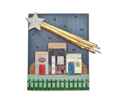 Make a Wish vintage wood small houses starry sky shooting star ORIGINAL ART  by Elizabeth Rosen
