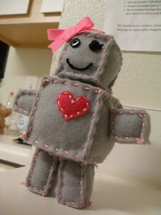 Not So Mini Randy or Rainee Stuffed Felt Robot by ZharpContrive