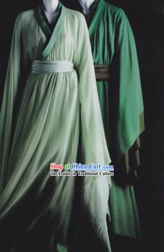 Traditional Ancient Chinese Green Hanfu Clothing for Men and Women Chinese Clothing, Oriental Fashion, Character Outfits, Hanfu, Anime Outfits, Chinese Style, Traditional Dresses, Costume Design, Kaftan