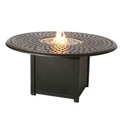 Darlee Series 60 Cast Aluminum 60 in. Round Fire Pit Dining Table | from hayneedle.com