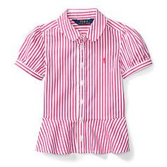 Chemisier à basque popeline rayée - Girls 1 ½ - 6 ½ years Chemisiers & Blouses - Ralph Lauren France