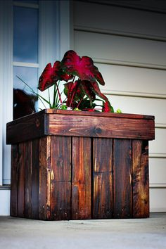 Dark Stained Wood DIY Planter Box