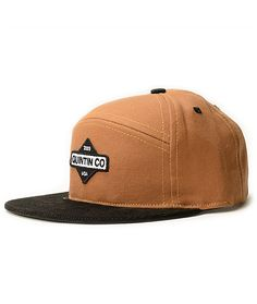 A fuax leather strapback sizing piece ensures a snug fit with a black bill  that provides two tone contrast against the brown crown. 88f2c02bf467