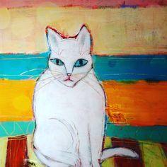 Contemplative Cat, mixed media painting