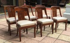 6 Chaises En Acajou Flammé Dossier , Catherine Marin, Proantic Objet D'art, Dining Chairs, Display, Furniture, Home Decor, Stools, Chairs, Antique Shops, Sailor