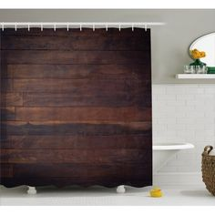 Shower Curtains and Shower Curtain Hooks Country Bathrooms, Planks, Bathroom Sets, Carpentry, Country Life, Dark Brown, Hooks, Diy Home Decor, Curtains
