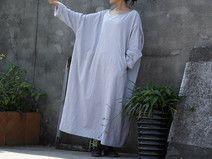 GRAY Plus Size Maxi Dress New Elegant Cotton Gown
