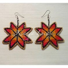 Sunburst star earrings for sale! $60 + s/h Hand made by me and backed with authentic tan colored buckskin leather. Measures approx 2 3/4 x 2 3/4 inches PayPal  #ndn #nativebling #ndnbeadwork #nativeartist #nativebeadwork #earrings #beadwork #beadedearrings #handmade #forsale #haliwasaponi #tuscarora #woodlands
