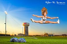Shelby Whitfield - Lone Star High School - Class of 2013 - Senior Model Rep - - Football Field - Sunset - Lights - Cheerleading - Pom Poms - Jump - Splits - Summer - Frisco - Texas - Tyler R. Cheerleading Poses, Cheerleading Senior Pictures, High School Cheerleading, Cheer Poses, Senior Photos, Senior Portraits, College Cheer, Cheer Pictures, Sports Pictures