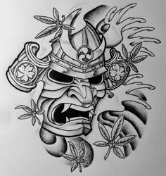Samurai Mask and Japanese Maple by 814CK5T4R on @DeviantArt