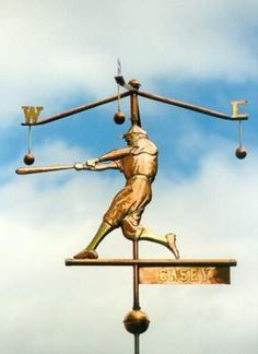 Casey at the Bat Weathervane by West Coast Weather Vanes.  This copper Baseball Player Weather Vane features glass eyes and Brass and Gold accents.