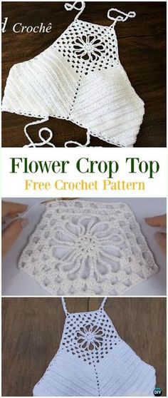 Crochet Flower Crop Top Free Pattern Video-#Crochet Summer Halter #Top Free Patterns