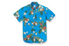 Bonobos - Newport Poplin - Short Sleeve - Blue Hawaiian Print