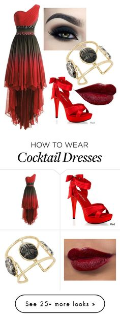 """""""Ready Red"""" by haylee-rose999 on Polyvore featuring Too Faced Cosmetics, Betsey Johnson, Pleaser, gold, black and red"""