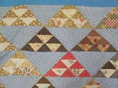 Vintage Antique 1830s 1860 TINY TRIANGLE 1x2 CHINTZ + RARE FABRICS Quilt 88x81 #quilt