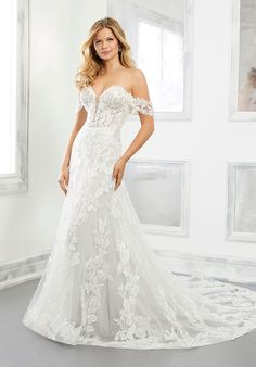 Slim A-line wedding dress in net over glitter net with sweetheart neckline and detachable, off-the-shoulder sleeves. Wedding Dresses Photos, Bridal Wedding Dresses, Wedding Dress Styles, Designer Wedding Dresses, Wedding Pictures, Mori Lee Bridal, Future Mrs, Essense Of Australia, Dress Picture