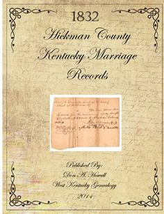 West Kentucky Genealogy: 1832 Hickman County, Kentucky Marriage Records