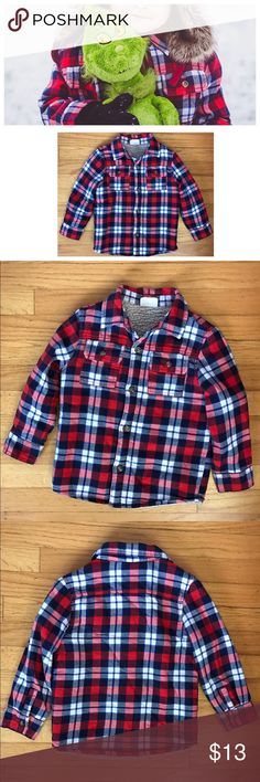 Crazy 8 plaid Sherpa jacket 4T fits up to size 5+ Crazy 8 (Gymboree sister) size 4T boys Sherpa lined jacket. CUTEST COMFIEST JACKET EVER! I'm so in love with it but sadly my son is now in a bigger size. Fit my son when he wore 4T up to size 5. It's Nice and warm,has buttons on bottom of sleeves & buttons up-no zippers🚨PLEASE NOTE: the inside Sherpa lining shows some wash wear. However it's just the inside lining&you can't see it when being worn anyways. Pic is of my son wearing it for…