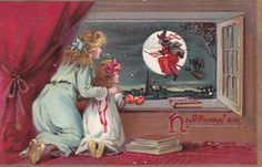 Witch and the Moon  Vintage Halloween Postcard by FunerealEphemera, $32.00