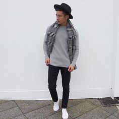 Black, grey and white.  Hat: @riverisland Scarf: vintage  Top: @rivirisland Jeans: @topman Shoes: @converse  #fashion #fashionista #fashionblog #fashionblogger #fashiondiaries #street #streetwear #style t#stylish #cool #menswear #fit #fitfam #clothes #outfit #outfitoftheday #mensfashion #him #aesthetics #sweet #fashionable #shopping #mensstyle #kpop #selfie #uk #london