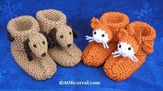 Childrens Knit Slippers dog & cat--also bunny, duck, sheep, monkey, bear