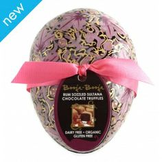 Easter Egg - beautifully handpainted egg with truffles inside from ethical superstore, Booja Booja brand Chocolate Truffles, Simply Beautiful, Rum, Easter Eggs, Dairy Free, Christmas Bulbs, Hand Painted, Organic, Holiday Decor
