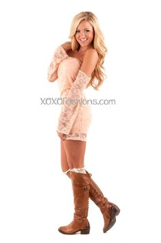 Peach Lace off The Shoulders Dress #trendy #peach #lace #model #blonde #love #dress #lacedress #bootsocks #xoxo #fashion #fall #fallfashion #style #gorgeous #trendydress