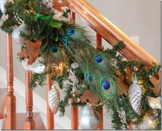 Peacock feathers and Holiday Garland