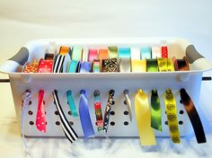 plastic bin ribbon organiser