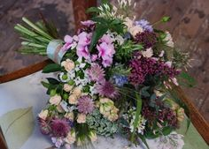 Country bouquet of pinks and purples