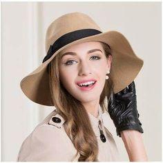 f1c433ee601 Khaki bow floppy hat for women wide brim fedora hats wool fabric