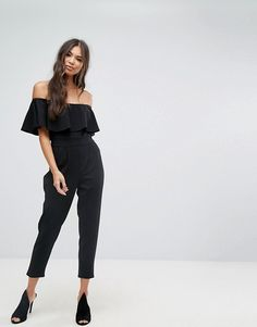 fbf94b9347f Shop Outrageous Fortune Bardot Tailored Jumpsuit with Tapered Leg at ASOS.