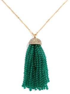 Add some texture with a beaded tassel in rich jewel tones. $40