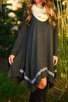 Gray Round Neck Long Sleeve Dress GRAY: Long Sleeve Dresses | ZAFUL