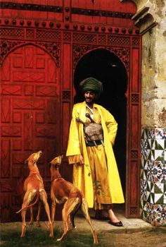 Jean-Léon Gérôme An Arab and his Dog (1875)  Maybe whippets, likely greyhounds (given the date)