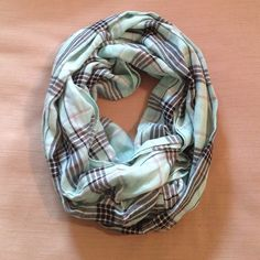 Blue plaid infinity scarf Beautiful soft blue infinity scarf new with tags Accessories Scarves & Wraps