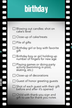 Birthday Photo Opportunities Checklist
