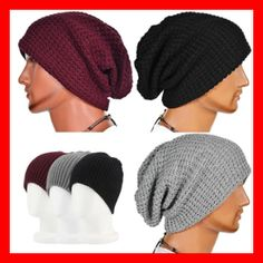 Unisex Chic Men Women Warm Winter Knit Beanie Skull Slouchy Oversize Cap Hat   fashion   07b9a2cca8c1