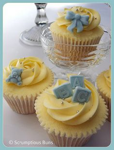 Baby Boy Christening Cupcakes by Scrumptious Buns (Samantha), via Flickr