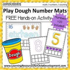 Play Dough Number Mats FREE Printable for Numbers Perfect for preschool math, early childhood, kindergarten math, and rti activities. Number Activities, Hands On Activities, Math Games, Playdough Activities, Teaching Activities, Educational Activities, Preschool Math, Kindergarten Math, Elementary Math