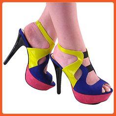 Grog by Paprika New Womens Pink Yellow & Blue Platform High Heel Pump Size 5.5 - Sandals for women (*Amazon Partner-Link)