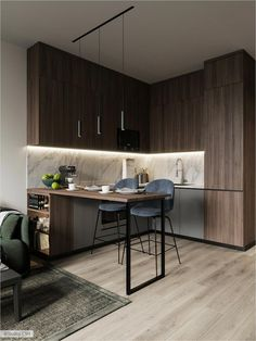 31 Trendy Home Design Small Apartments Cabinets Condo Interior Design, Loft Interior, Small Apartment Interior, Small Apartment Design, Apartment Kitchen, Small Apartments, Apartment Living, Apartment Ideas, Living Room